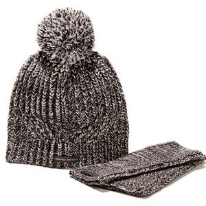 Rebecca Minkoff Marled Beanie & Arm Warmer Set